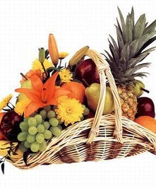 Fruit & Flowers in a Fireside Style Basket